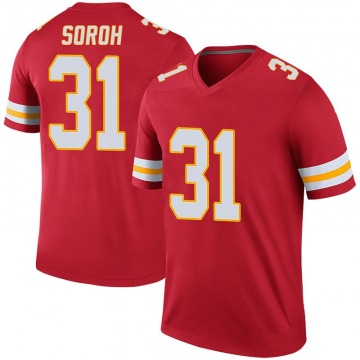 Men's Andrew Soroh Kansas City Chiefs Legend Red Color Rush Jersey